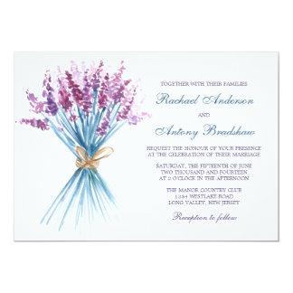 Boda de la flor de la lavanda de la acuarela invitación 12,7 x 17,8 cm