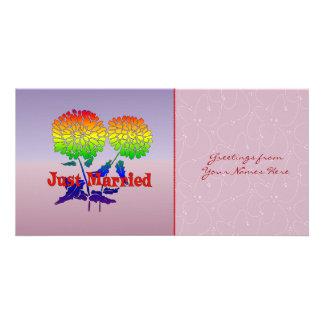 Boda de la flor del arco iris plantilla para tarjeta de foto