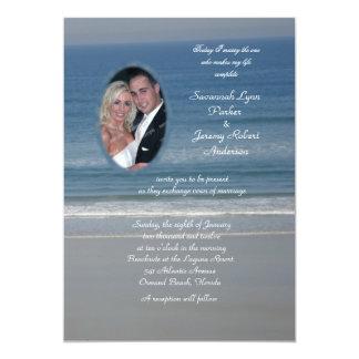 """Boda de la foto del amor del océano invitación 5"""" x 7"""""""