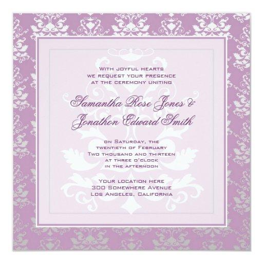 """Boda de la foto del damasco de la violeta africana invitación 5.25"""" x 5.25"""""""