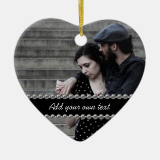 Boda de la foto/ornamento del compromiso/del adorno de cerámica en forma de corazón