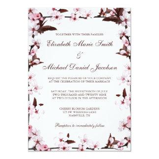 Boda de la frontera de las flores de cerezo invitación 12,7 x 17,8 cm