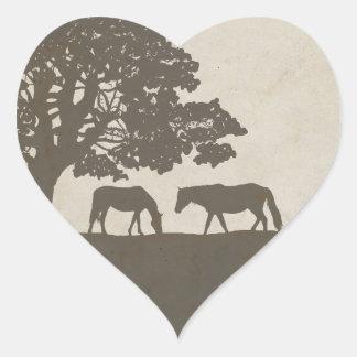 Boda de la granja del caballo del vintage de Brown Pegatina En Forma De Corazón