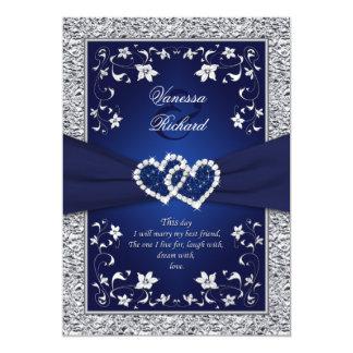 Boda de la hoja de los corazones florales de plata invitación 12,7 x 17,8 cm