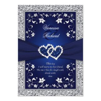 """Boda de la hoja de los corazones florales de plata invitación 5"""" x 7"""""""