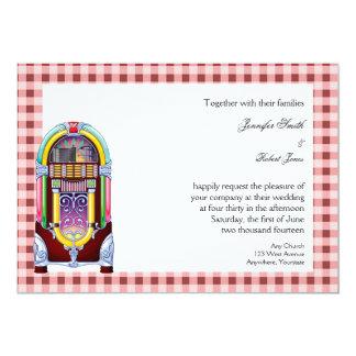 boda de la máquina tocadiscos del vintage de los invitación 12,7 x 17,8 cm