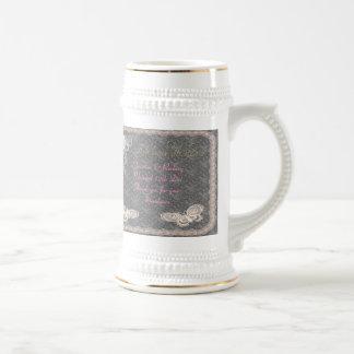 Boda de la mariposa jarra de cerveza