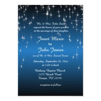 """Boda de la noche estrellada en azul metálico del invitación 5"""" x 7"""""""
