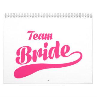 Boda de la novia del equipo calendarios de pared