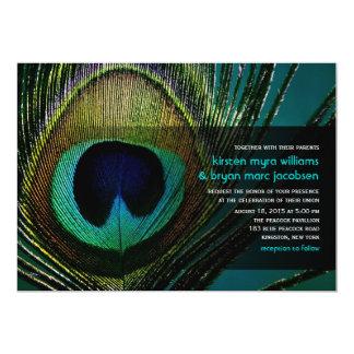 boda de la pluma del pavo real de la fotografía invitación 12,7 x 17,8 cm