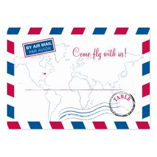 Boda de la tarjeta del asiento del correo aéreo de tarjetas de visita grandes