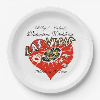 Boda de la tarjeta del día de San Valentín de Las Plato De Papel De 9 Pulgadas