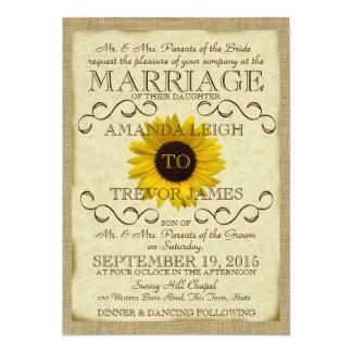 Boda de la tipografía del vintage del girasol invitación 12,7 x 17,8 cm