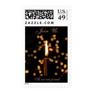 Boda de la vela del navidad franqueo