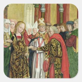 Boda de la Virgen, del altar de la bóveda, 1499 Pegatina Cuadrada