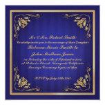 Boda de lujo del azul y del oro invitación 13,3 cm x 13,3cm