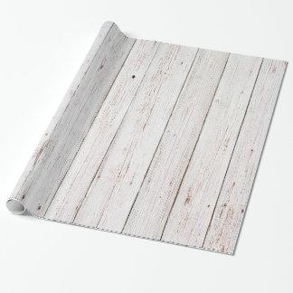 Boda de madera blanco elegante lamentable papel de regalo