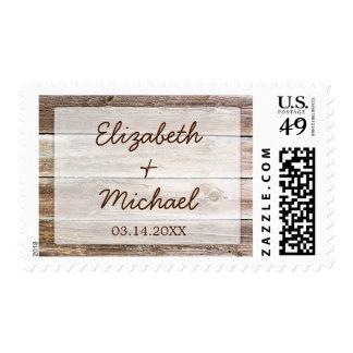 Boda de madera del granero rústico timbres postales