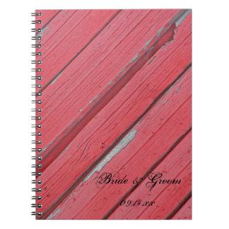 Boda de madera del país del granero rojo rústico libretas espirales