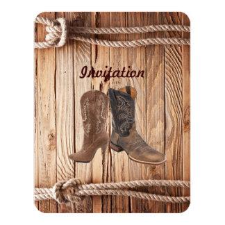 """boda de madera del país occidental de las botas de invitación 4.25"""" x 5.5"""""""