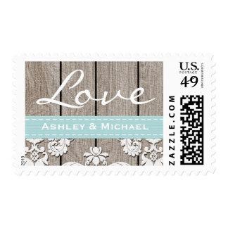 Boda de madera rústico azul del amor del cordón de sellos postales