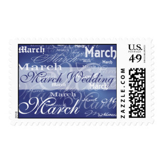 Boda de marzo en azul sello