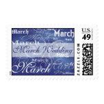 Boda de marzo en azul sellos