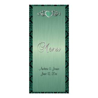Boda de moda moderno en un damasco verde del tarjetas publicitarias a todo color
