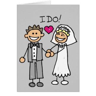Boda de novia y del novio de la gente del palillo tarjeta de felicitación