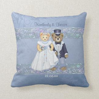 Boda de novia y del novio del oso de peluche - cojín