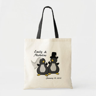 Boda de novia y del novio del pingüino bolsa lienzo