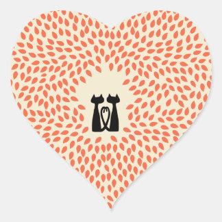 Boda de octubre de dos gatos pegatina en forma de corazón