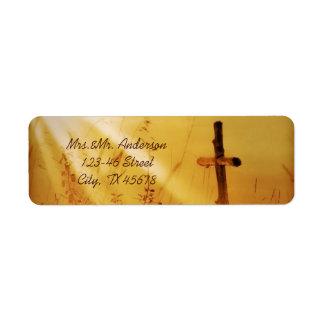 Boda de oro de la cruz del país del vintage románt etiquetas de remite