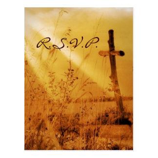 Boda de oro de la cruz del país del vintage románt tarjetas postales