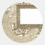 Boda de oro o invitaciones o notas del aniversario pegatinas redondas