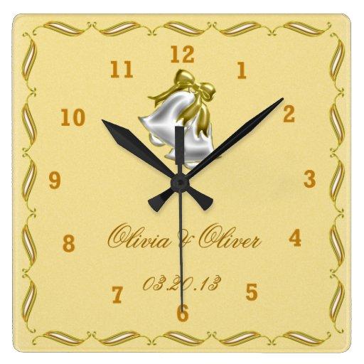 Boda de oro reloj cuadrado