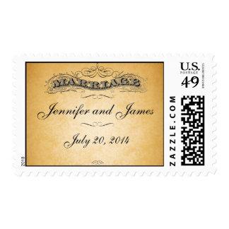 Boda de papel de la mirada de la boda del vintage timbre postal