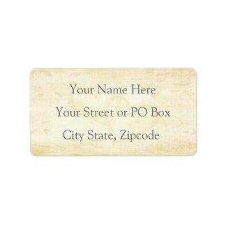 Boda de papel envejecido vintage etiqueta de dirección