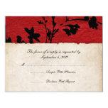 Boda de papel rasgado rojo y negro RSVP Invitación Personalizada