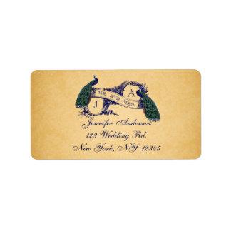 Boda de papel RSVP del vintage azul del pavo real Etiquetas De Dirección