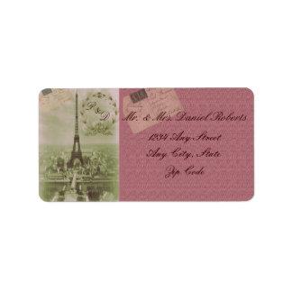 Boda de París del vintage Etiqueta De Dirección