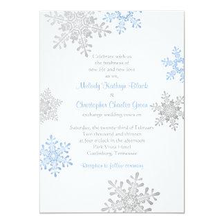 """Boda de plata azul simple del invierno del copo de invitación 5"""" x 7"""""""