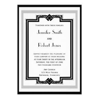 Boda de plata blanco negro del marco del art déco invitación