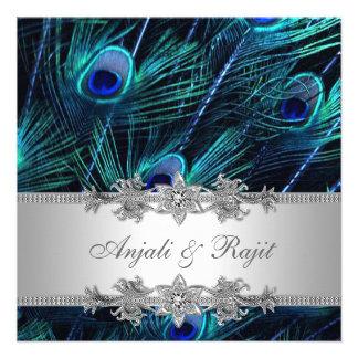 Boda de plata del pavo real del azul real invitación
