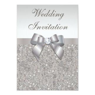 """Boda de plata impreso de los diamantes y del arco invitación 5"""" x 7"""""""
