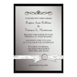 """Boda de plata negro elegante de la cinta invitación 5"""" x 7"""""""