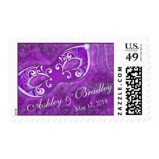 Boda de plata púrpura del carnaval de la mascarada timbres postales