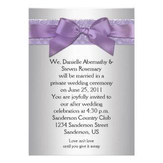 Boda de plata púrpura del poste de la cinta del br invitacion personalizada