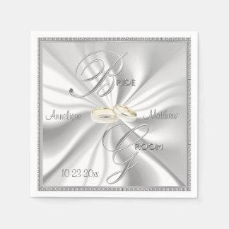 Boda de plata y blanco del satén servilletas de papel