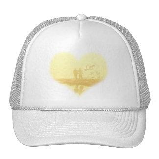 Boda de playa amarillo del corazón gorras